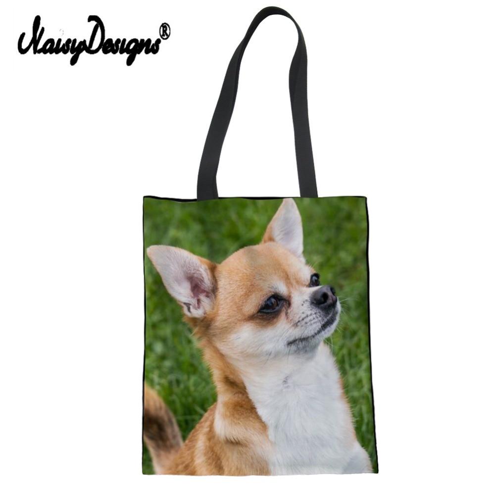 Chihuahua Dog Shoulder Bags Environmental Shopping Bag Tote Package Crossbody Bags Purses Casual Handbag For Women Dropshipping
