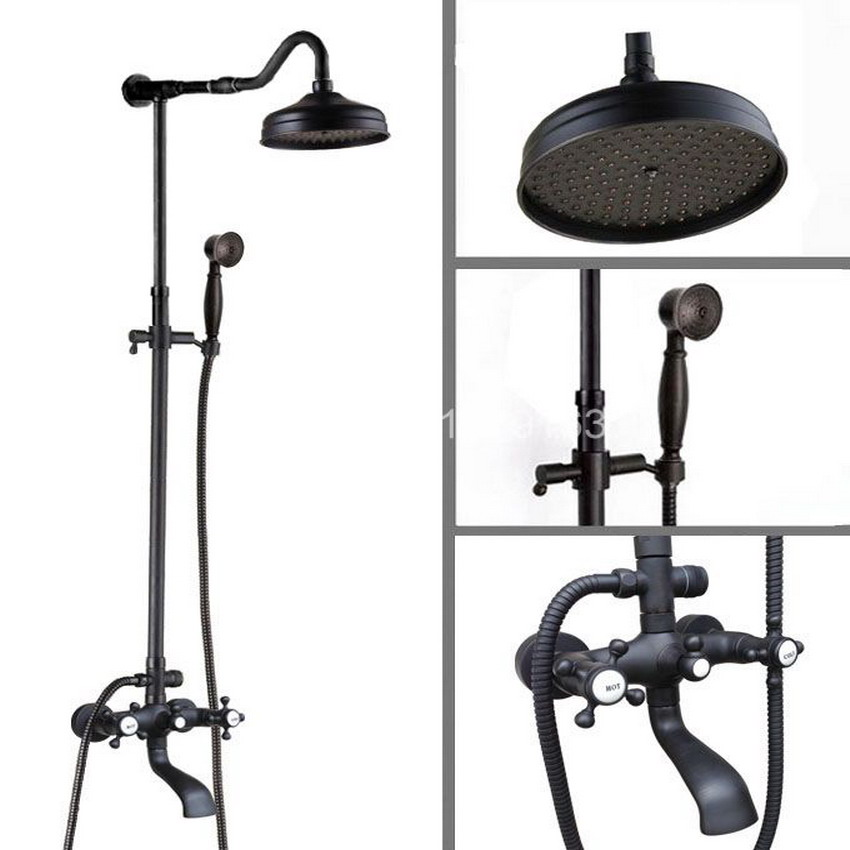 Brass Black Oil Rubbed Bronze Bathroom Rainfall Bathtub Shower Mixer Tap Faucet Single Handle Wall Mounted