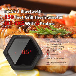 Inkbird IBT-6XS Black Digital Thermometer 150ft Bluetooth Wireless BBQ Thermometer Six Probes Free APP & USB Rechargable Battery