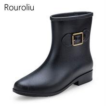 Rouroliu/Женские Модные непромокаемые сапоги до середины икры