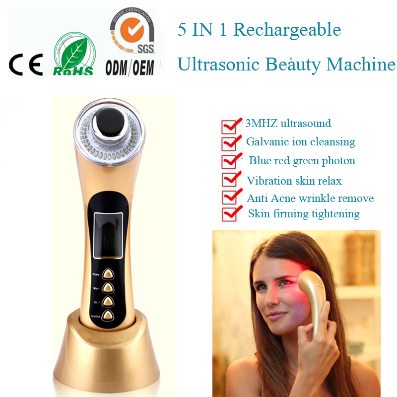 LCD Display 5 IN 1 Rechargeable Home Use Galvanic Ultrasonic Ion 3 Colors Led Photon Rejuvenation Face Body Beauty Massager lcd display 5 in 1 rechargeable home use galvanic ultrasonic ion 3 colors led photon rejuvenation face body beauty massager