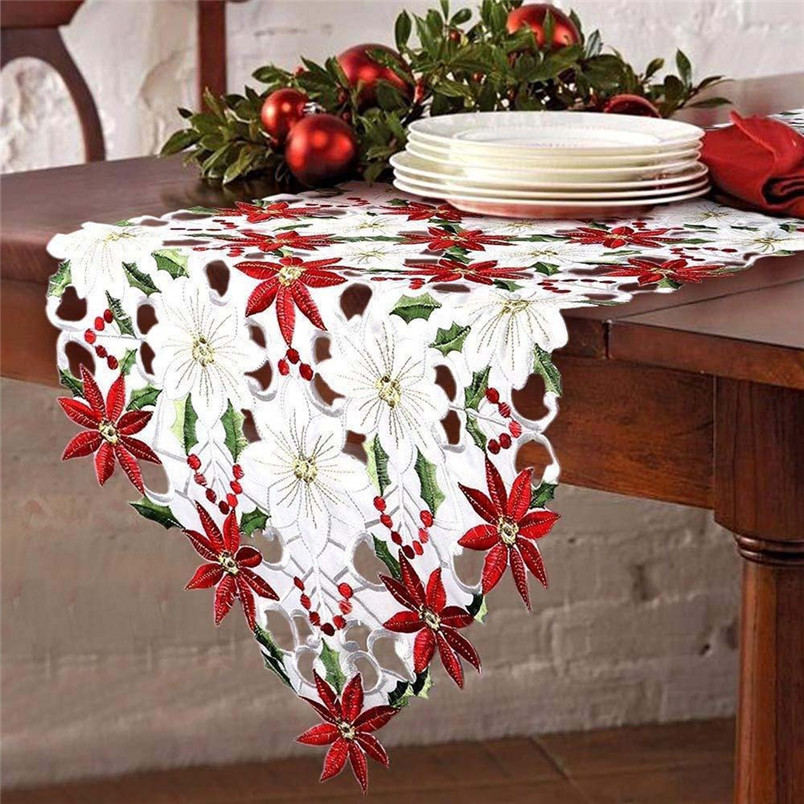 1pc New Embroidered Table Runner Christmas Poinsettia Holly Leaf Table Runner For Wedding Decoration Home Decor #3n21#f