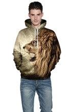 2016 neue Ankunft Mit Kappe Mann Cool 3D Lion Drucken Braun Hoodies Plus Größe M Bis 6XL Mann casual Herbst Frühling Winter Tops