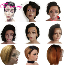 Bouncing Hair Brazilian Remy Customized Short Pixie Cut Wig Natural Color #27 #613 Pre Plucked Human Wigs For Women