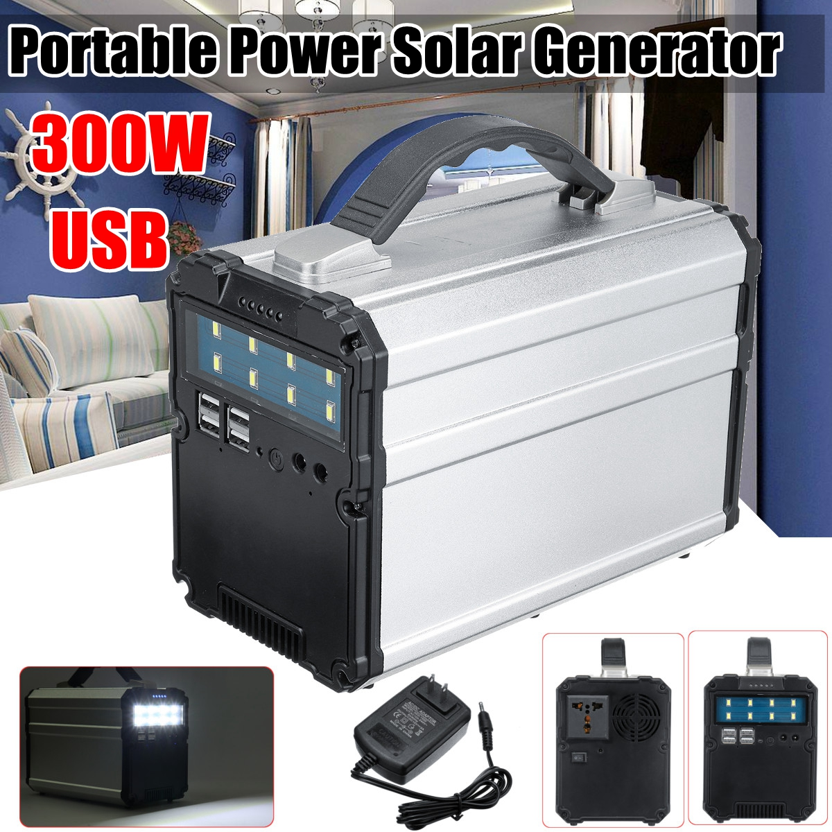 300WH 300W 12V 15A Inverter Home Outdoor Portable solar generator Power Storage faster USB charger