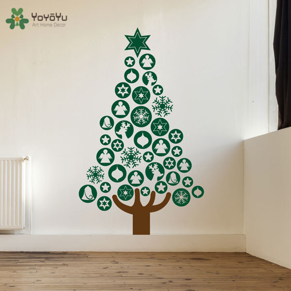 Yoyoyu happy holiday wall decal baubles christmas tree for Christmas wall mural plastic