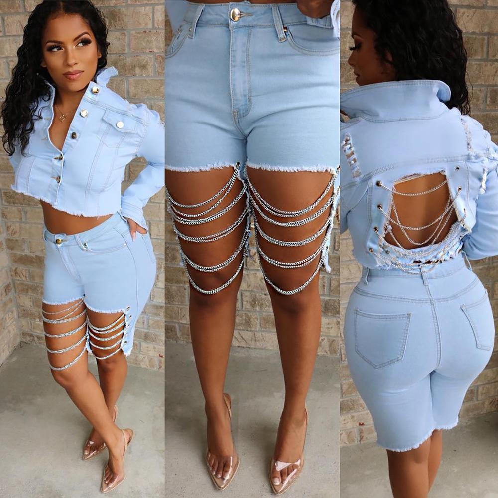 BKLD – jean court avec chaîne ajouré pour femme, pantalon noir, taille haute, longueur aux genoux, Denim léger, nouvelle collection été 2019