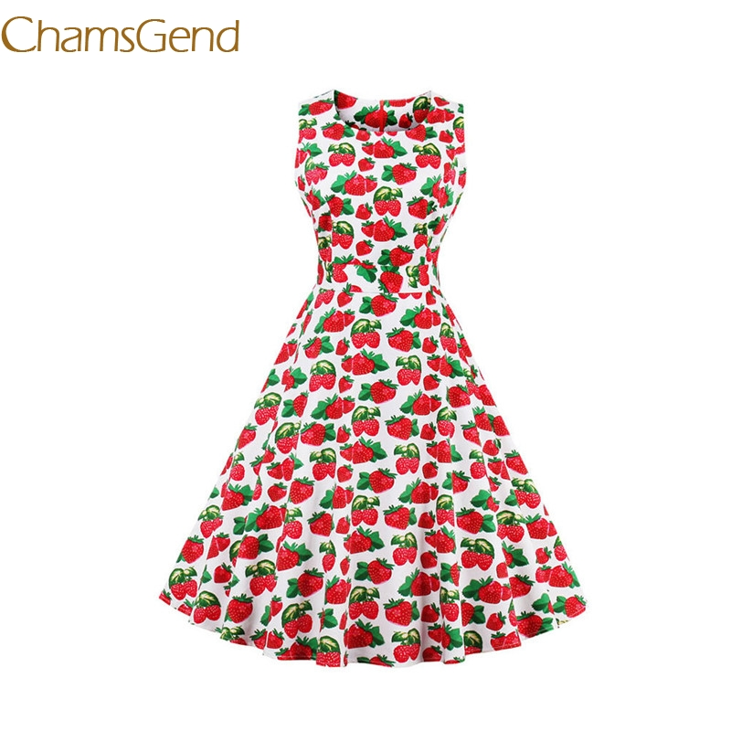 Chamsgend Vintage 1950 s white Strawberry Womens summer Garden Rockabilly Swing Prom Party Cocktail 4XL Plus