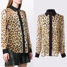 Womens leopard chiffon shirts 2019 spring summer sexy Shirts &Blouses G155