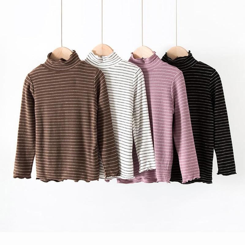 Fashion Girls T Shirt 2018 Autumn Winter Kids Tops Turtlneck Girls Striped T Shirt Cotton Children Clothing RT233