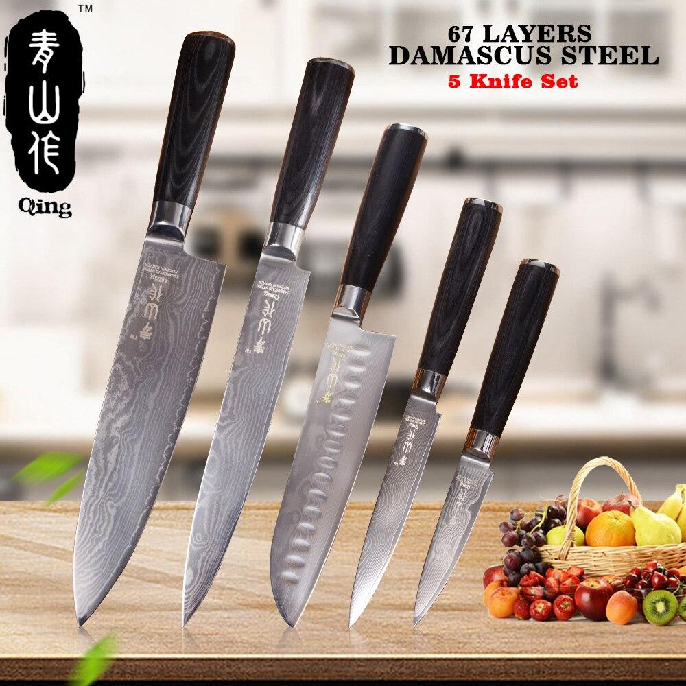 QING 5 pcs Damas Cuisine Couteaux 8 8 7 5 3.5 Haute Ténacité Japonais Damas outils de Cuisson en acier Noir Couleur Manche En Bois