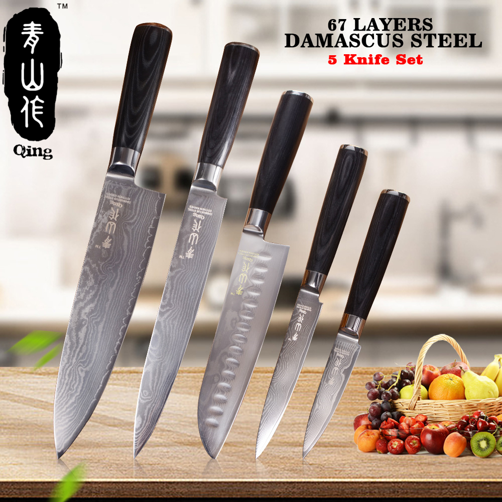QING 5pcs Damascus Kitchen Knives 8 8 7 5 3.5 High Toughness Japanese Damascus Steel Cooking Tools Black Color Wood Handle