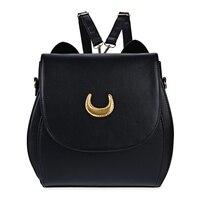 Korean Women Backpack PU Leather Sailor Moon Backpack Multifunction Black White Luna Cat Ladies Backpack Girls