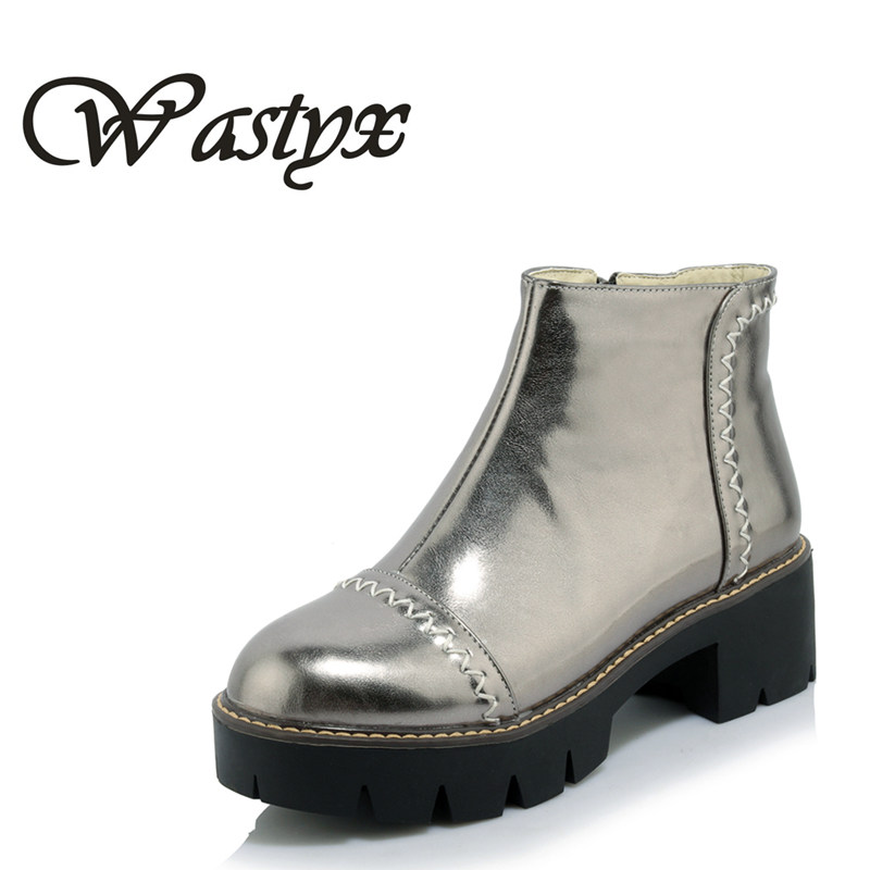 Wastyx new women boots fashion round toe ankle boots mid heels shoes woman platform winter warm casual boots big size 34-43 enmayla ankle boots for women low heels autumn and winter boots shoes woman large size 34 43 round toe motorcycle boots