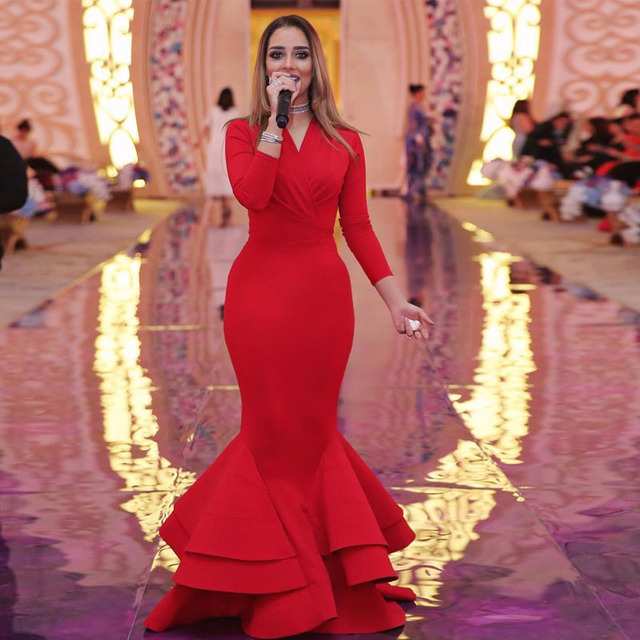 86a76e25d1 Simple Red Mermaid Evening Dresses V Neck Long Sleeve Ruffles Skirt Satin  Formal Evening Gown Plus Size Long Prom Dress