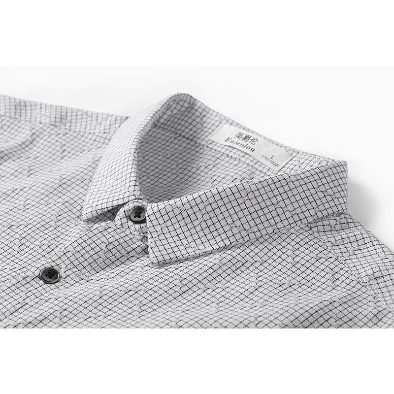Camisa de Primavera de marca Enjeolon camisas de cuadros de hombre Blusa de algodón de manga larga camisa casual Base hombres 3XL ropa CX2527