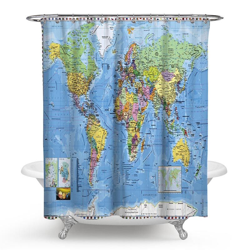 World Map Polyester Fabric Landscape Shower Curtain Bathroom Decor Waterproof Cortina De Bano With 12 Hooks Gift