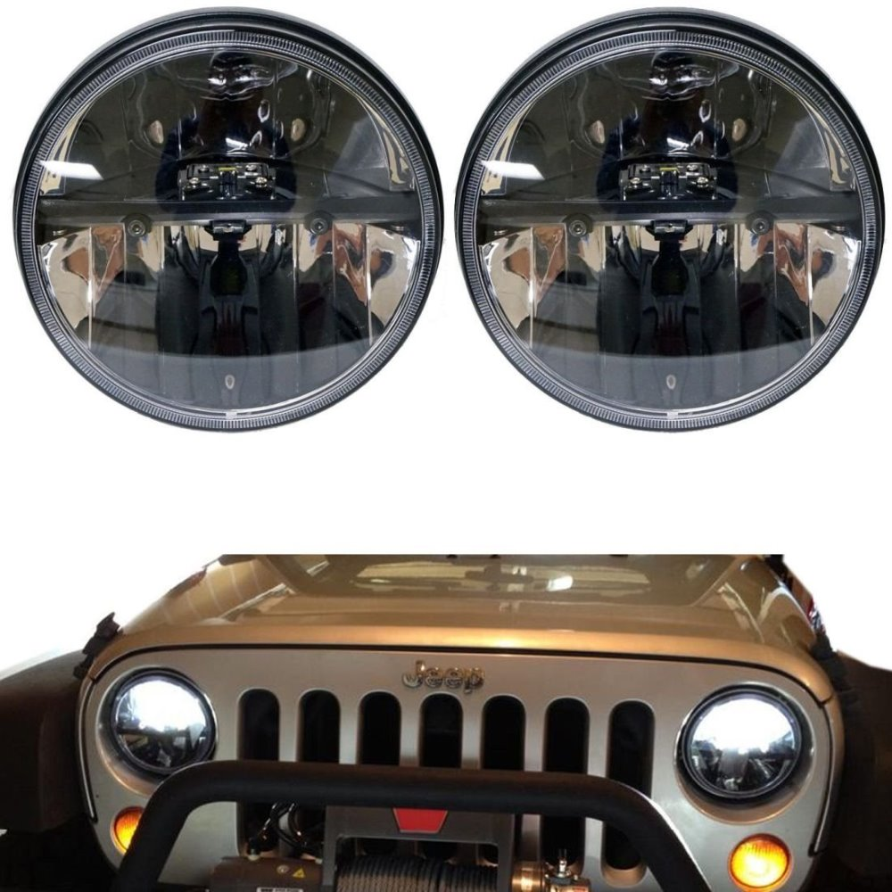 Black 7'' Round projector Headlight with High/Low Beam 7INCH 36W led headlamp for Jeep Wrangler JK TJ Hummer headlights 2pcs new design 7inch 78w hi lo beam headlamp 7 led headlight for wrangler round 78w led headlights with drl