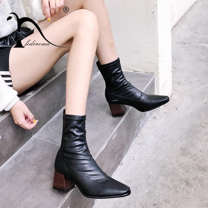 6da19b96973f73 Chaussures Talon Pour Hauts Bois Chunky Bloc Femmes Black D'hiver Fediroma  Cheville Femme Squaretoe Bottes ...