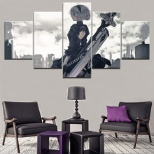 Wall Art Decor Modular Framework 5 Pieces Game NieR Automata YoRHa Poster HD Print Picture Modern Canvas Sword Warrior Painting home decor living room 5 piece 2b back black shadow painting canvas hd print game nier automata poster wall art modular picture