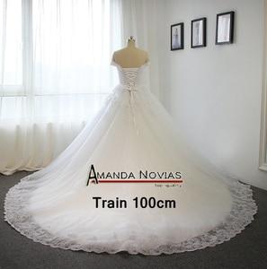 Image 5 - Novo modelo 2019 fora do ombro mangas vestido de casamento com trem longo 100% fotos reais