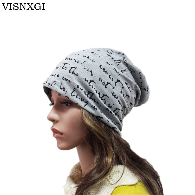 VISNXGI 2017 New Autumn Fashion Baggy Beanies With Letters Unisex Cotton Warm Winter Hats For Women Hip Hop Men Bonnet Head Cap hip hop beanie hat baggy unisex cap thick warm knitted hats for women men bonnet homme femme winter cap plus velvet beanies
