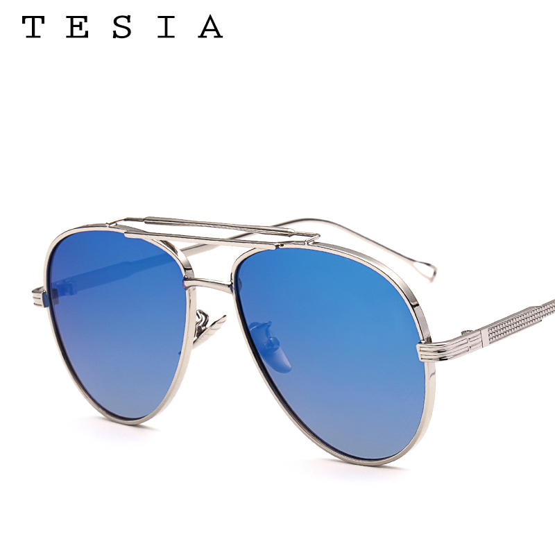 TESIA Pilot Sunglasses Men Brand Designer Reflective Mirrored Aviation Sun Glasses Male Three Beams Shades Eyewear T876