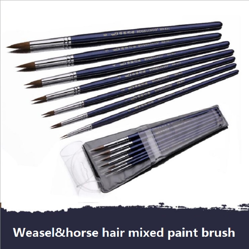 7pcs/set high quality fine weasel & horse mixed hair paint brush Watercolor Oil Acrylic paint brush art painting supplies 2840s high quality horse hair acrylic handle paint art supplies watercolor artist brush