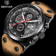 BENYAR Sport Mens Watches Quartz Calendar Waterproof Military Watch Men Fashion Brand Big Dial Leather montre chronographe homme