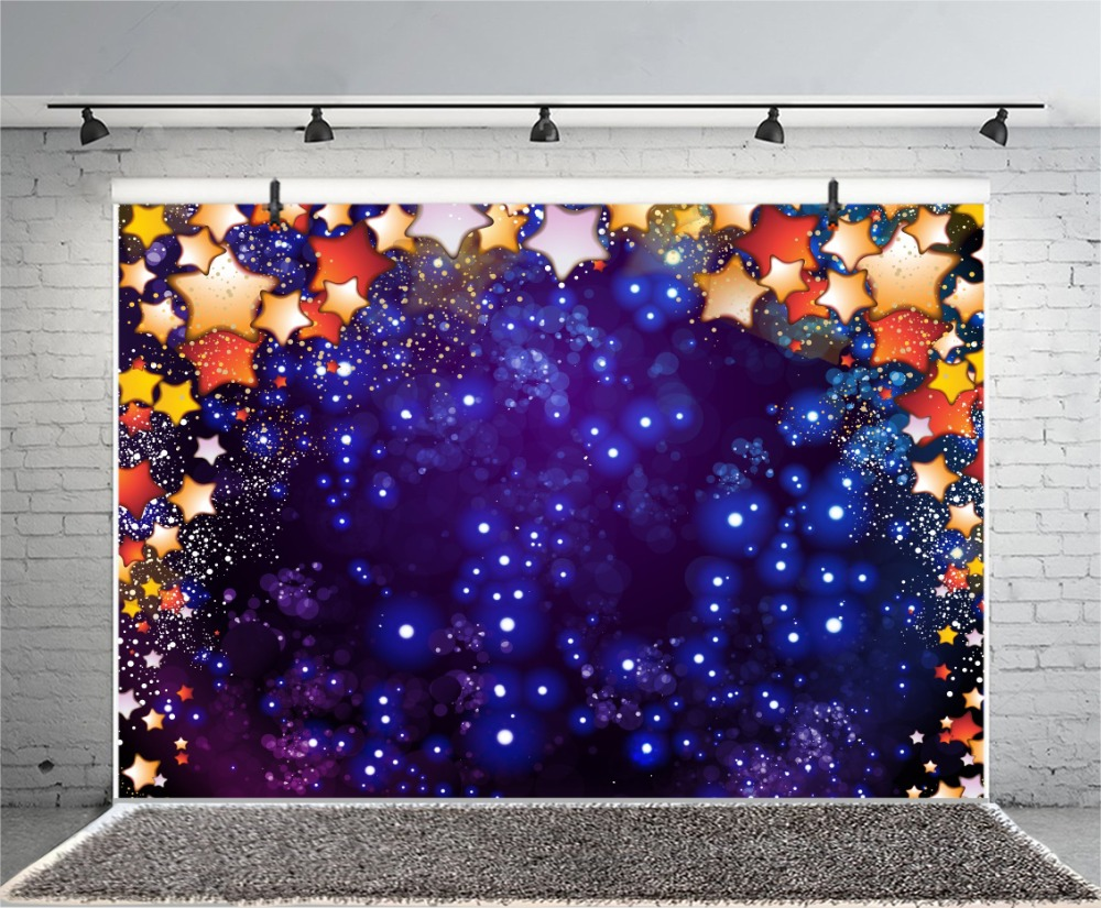 Laeacco Photo Backdrops Dreamy Dark Blue Polka Dots Colorful Star Party Decor Photographic Backgrounds Photocall Photo Studio in Background from Consumer Electronics