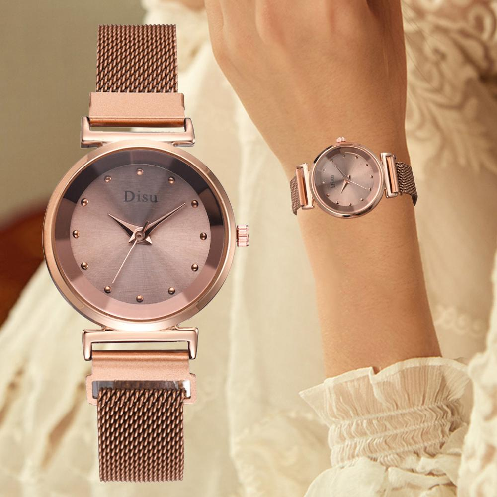 Women Magnetic Watch 2019 Rose Gold Watch Top Brand Luxury Diamond Refracting Ladies Dress Wristwatches Quartz Waterproof Clock