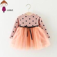 LILIGIRL одежда для малышей Одежда 2018 с длинными рукавами Детское элегантное платье для малышей для девочек плетением в стиле пэчворк в горошек с бантом на день рождения платья принцессы