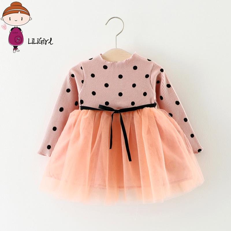 LILIGIRL Toddler Baby Clothes 2018 Long-Sleeve Kids Elegant Dress for Girls Mesh Patchwork Bow Dot Birthday Princess Dresses
