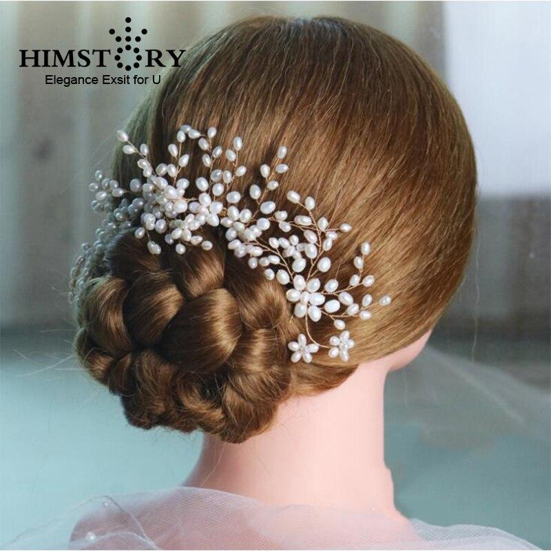 HIMSTORY Handmade New Luxurious Bride font b Hair b font Accessories Handmade Pearl Wedding font b