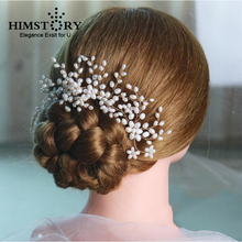 HIMSTORY Handmade New Luxurious Bride Hair Accessories Handmade Pearl Wedding Hair Jewelry Party Pom Bridal Starry Hair Comb