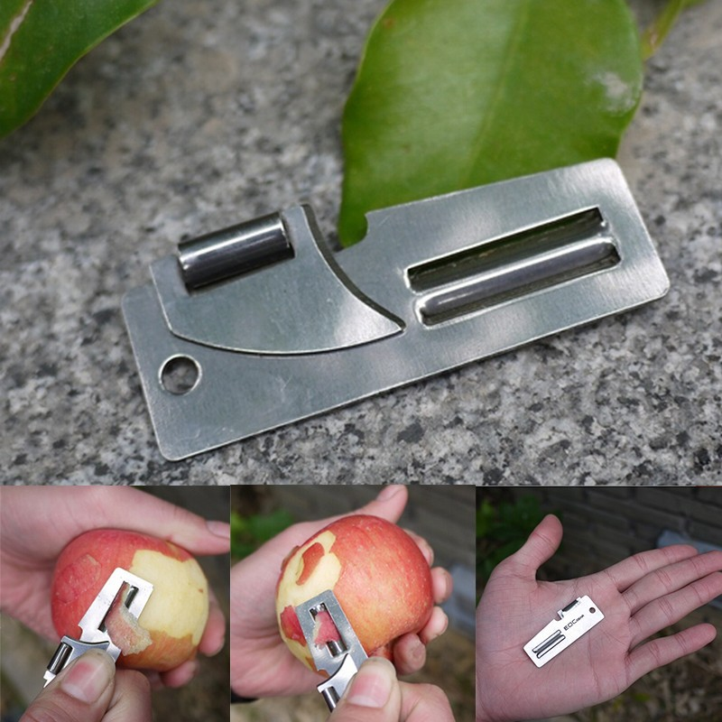 "New 2"" Double Peeler Stainless Steel 2 in 1 EDC Pocket Multi Tool Outdoor Can Opener Fruit Multi Peeler Cutter(China)"