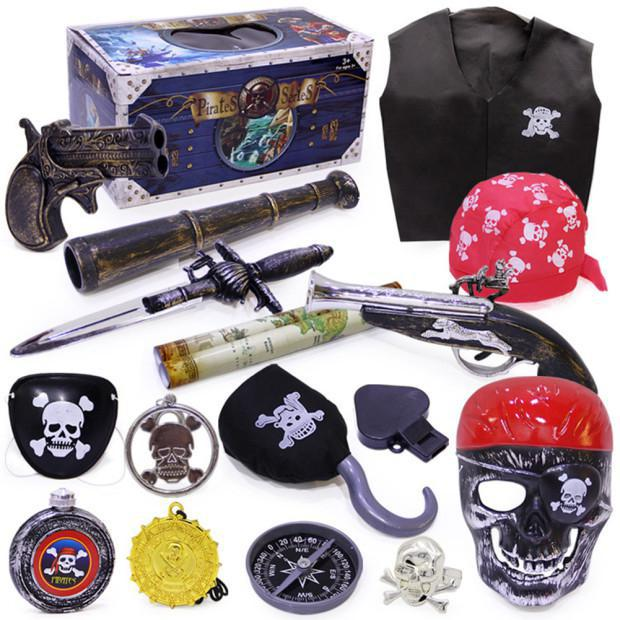 Halloween Pirate Toy Costume Accessories Set Crazy Toy Screaming Mask Facial Skeleton Pirates Figure of Action Kids Toys