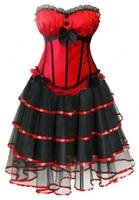 Envío Gratis nuevo estilo mujeres sexy burlesques busiter corset dress vascos Lencería larga trajes Set