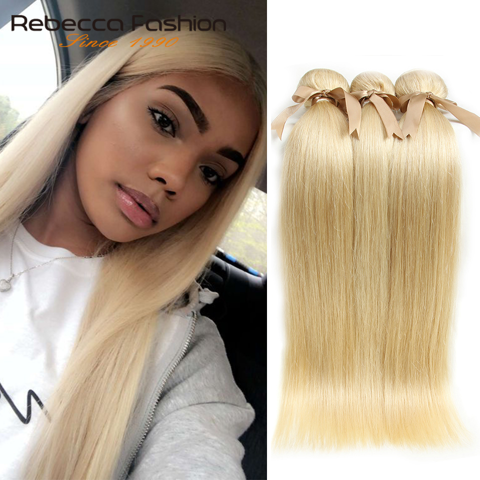 Rebecca 613 Honey Blonde Bundles Malaysian Straight Hair Bundles 100% Remy Human Hair Extensions 1/3/4 Bundles 10 to 26 Inches image