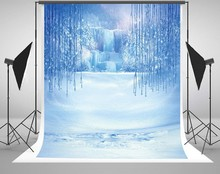 Inverno Congelado Neve Gelo Pingente de Cristal Mundo backdrop Vinil Fundos Computador impresso das crianças das crianças de pano de Alta qualidade