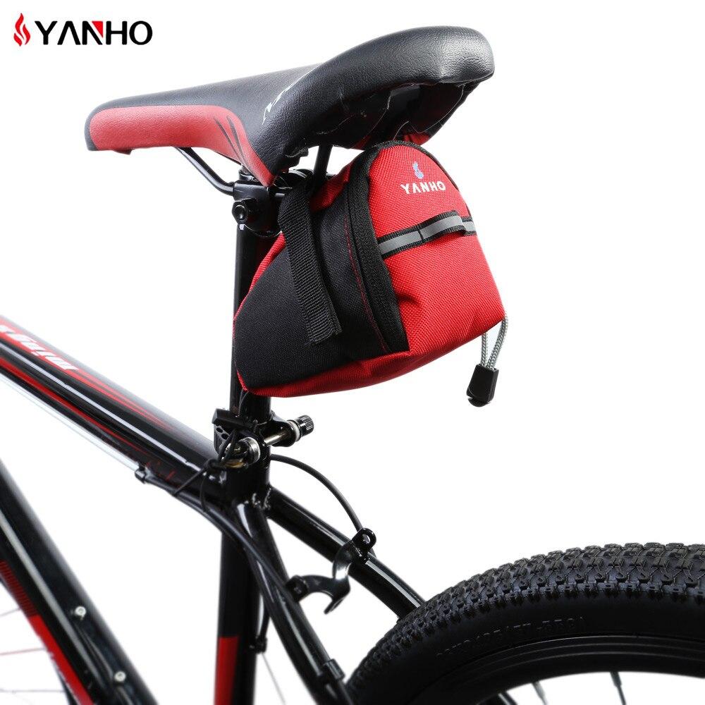 Sacs de selle de vélo, imperméable réfléchissantes de 15cm * 10cm * 8cm, pochette de tige de selle pour accessoires d'extérieur