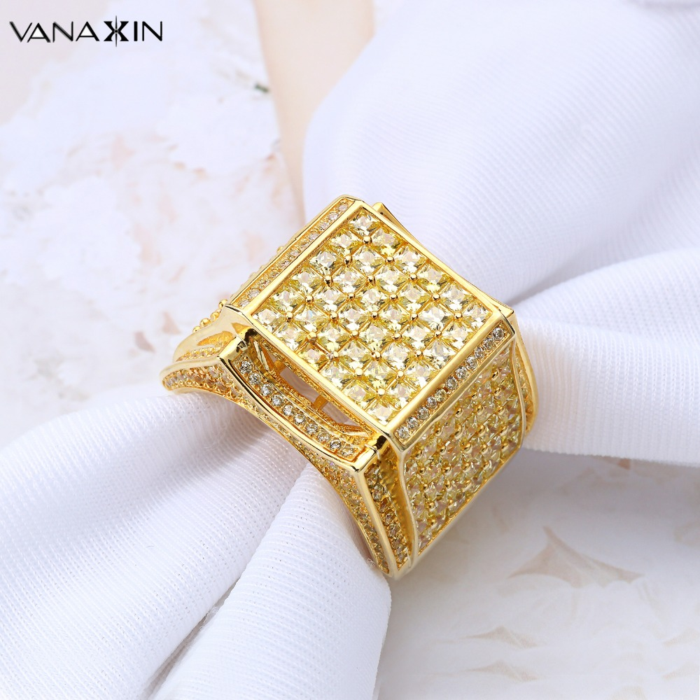 VANAXIN 925 Sterling Silver Men Rings Punk Party Ring Paved Shiny AAA Cubic Zirconia Gold / Silver Color Fashion 925 Male Jewelry