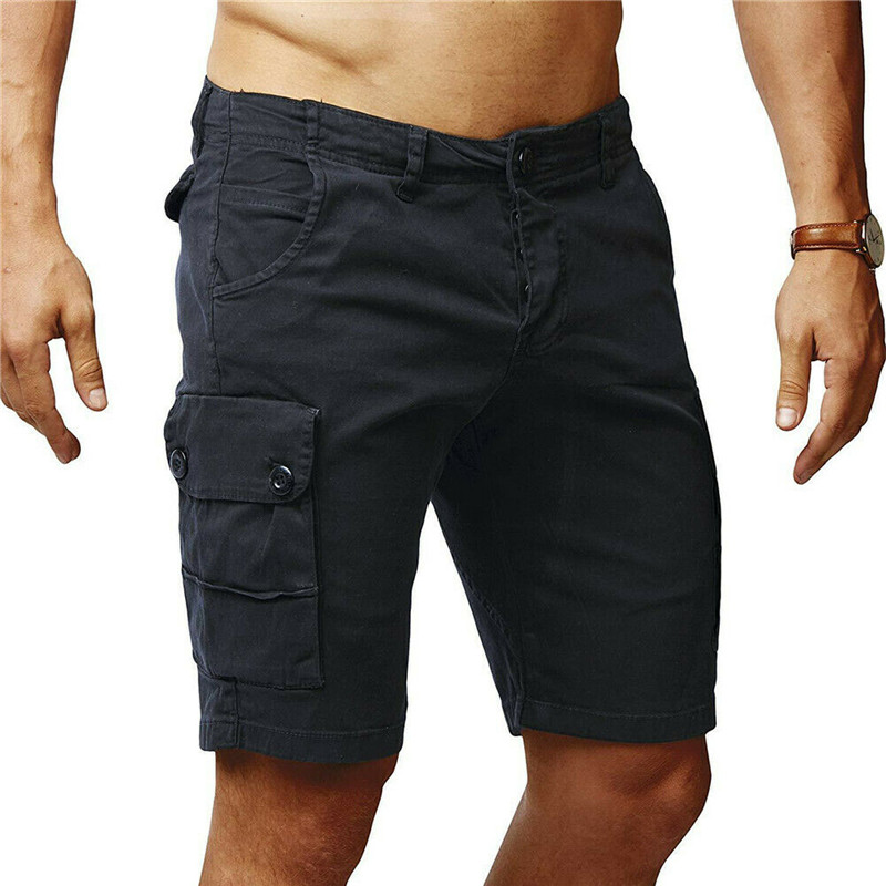 2019 Mens Military Cargo Shorts Summer Army Green Cotton Shorts Men Loose Multi-Pocket Shorts Homme Casual Bermuda Trousers