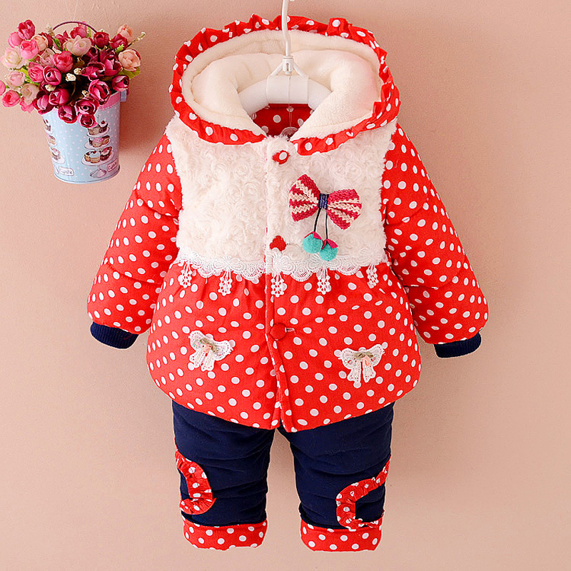NEW Baby girls clothes Winter fashion dot coat Thick Warm Coat Pants Warm Outerwear cotton Jacket