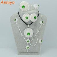 Anniyo 4 Kolor Kamienia Może Wybór/Etiopii Kolor Srebrny Biżuteria Zestawy Ślubne Biżuteria Habesha Erytrei Dubai Prezent #001017