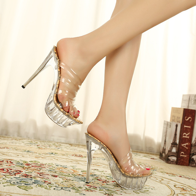 df52eefe4c8b10 Women Crystal Slipper Summer Fashion Sandal Transparent Glass Silicone  Strap High Heels Sexy Party Girl Peep Toe Platform Pumps on Aliexpress.com