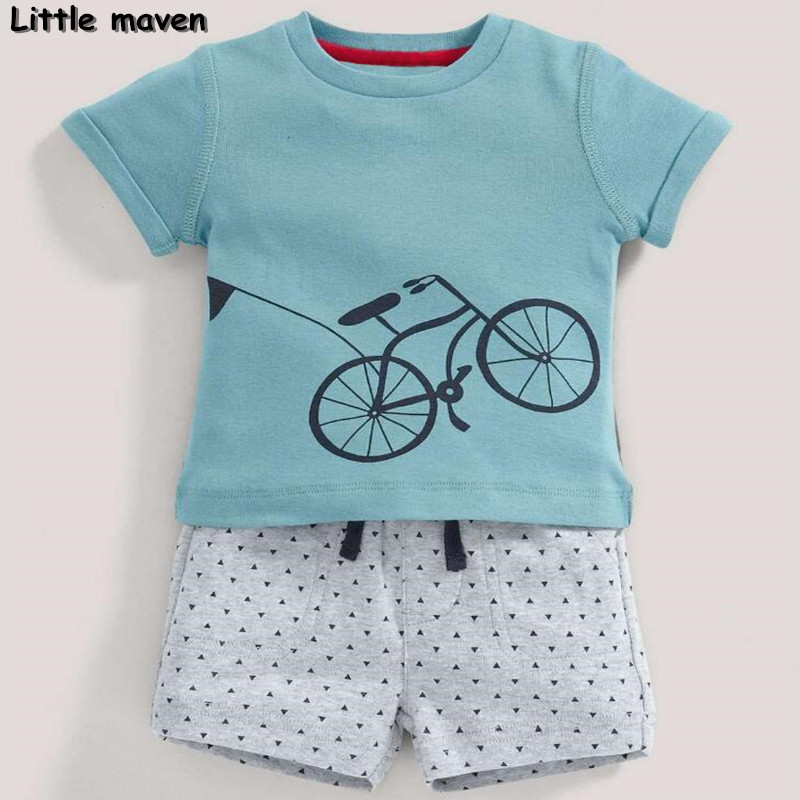 Little maven brand children clothing 2017 new summer baby boy clothes bicycle children s cotton sets
