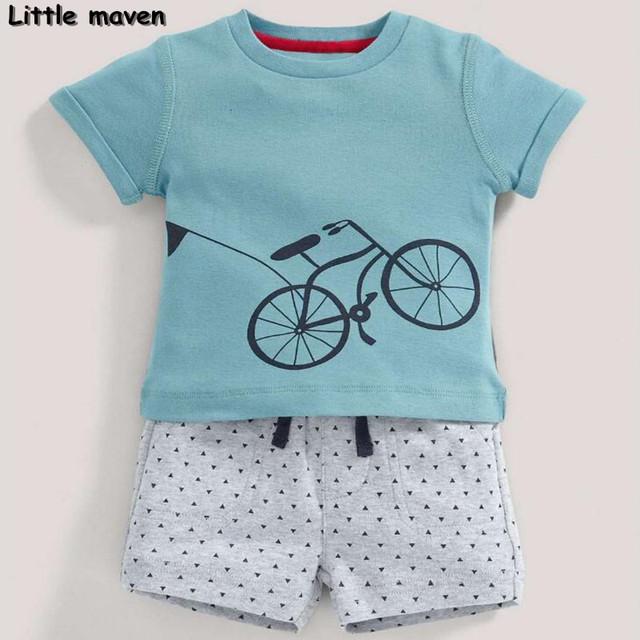 Little maven marca roupa das crianças verão 2017 nova baby boy roupas bicicleta das crianças conjuntos de algodão 20078