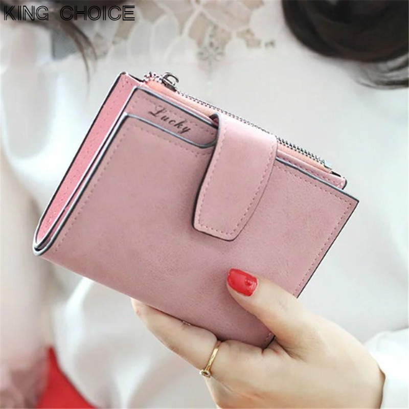 Female Purse Letter Snap Zipper Short Clutch Wallet Solid Matte