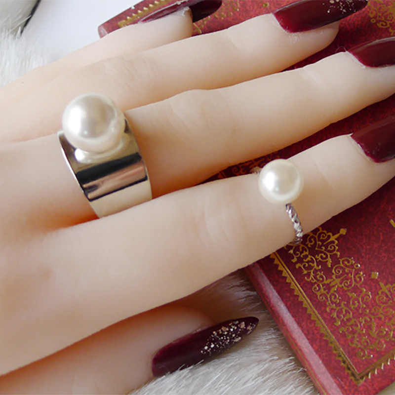 2 pieces/set Simulated Pearl Rings Set Women Gold Silver Open Ring Adjustable Midi Knuckle Mid Finger Jewelry Accessories